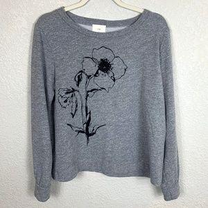 Anthropologie t.la Grey Sweatshirt Flower Graphic